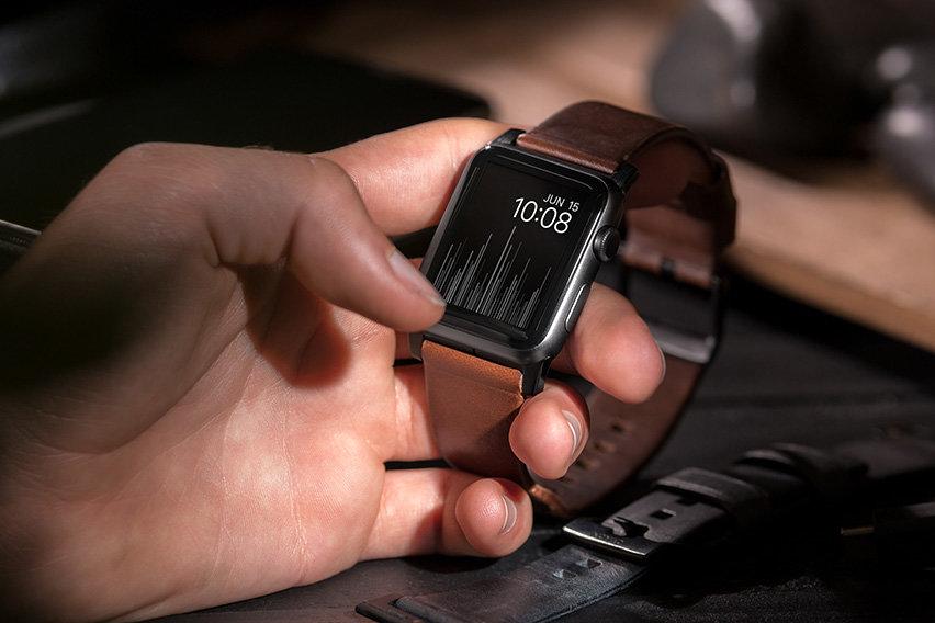 Nomad Apple Watch Strap- 44mm/42mm Brown Leather- Black Hardware