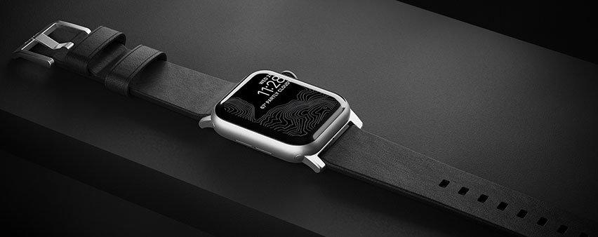 Bracelet Apple Watch 44/42mm Nomad Traditional en cuir noir – Noir