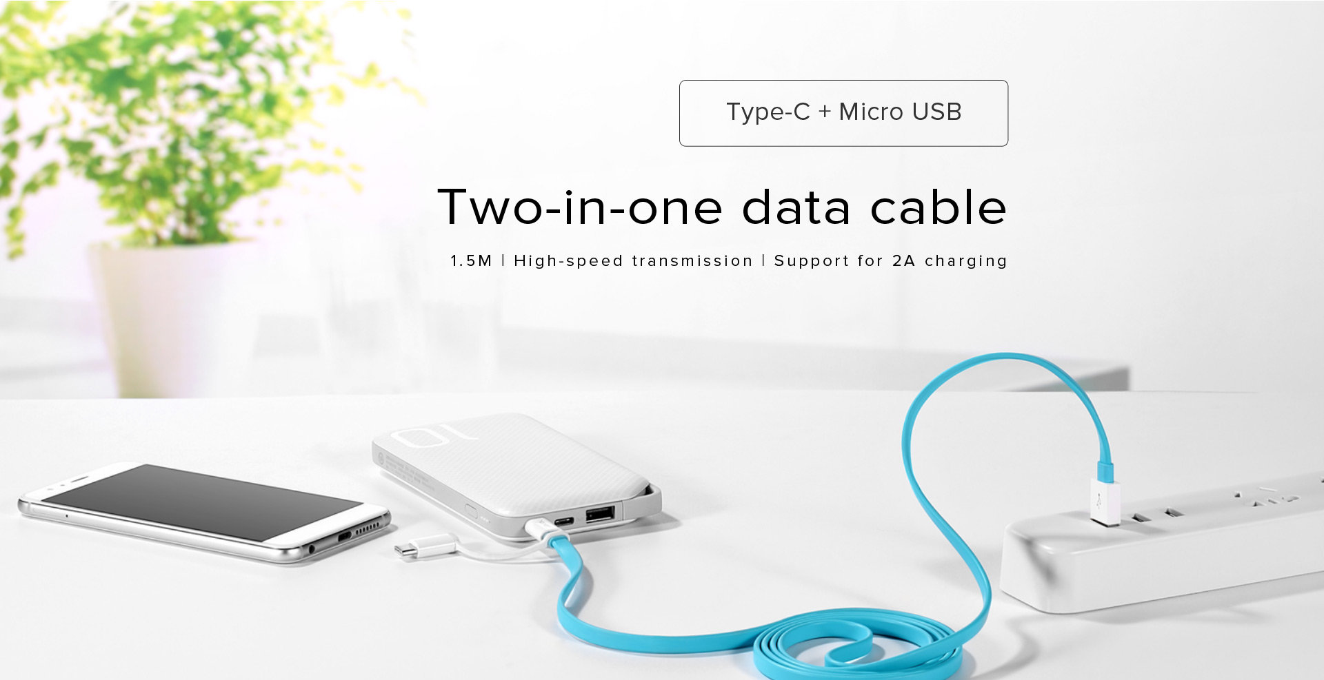 Cable Huawei Micro USB y Tipo C 1.5M - Azul