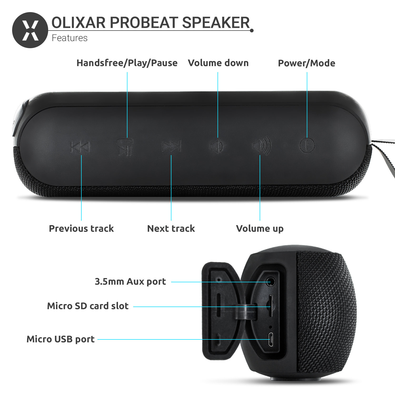 Olixar ProBeats Waterproof On-the-go Portable Bluetooth Speaker