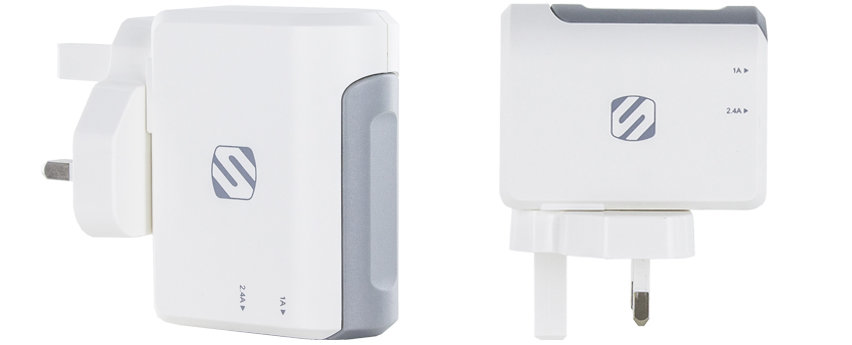 Scosche StrikeBase Dual Port USB Wall Charger - UK Mains