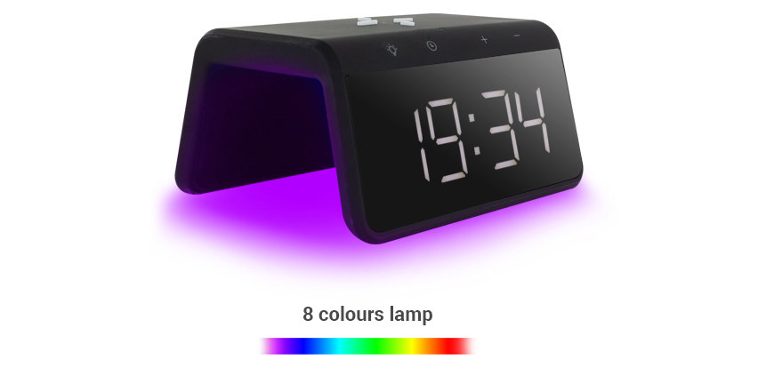 KSIX Smart Alarm Clock 2 With Qi Fast Charge Wireless Charger - Black