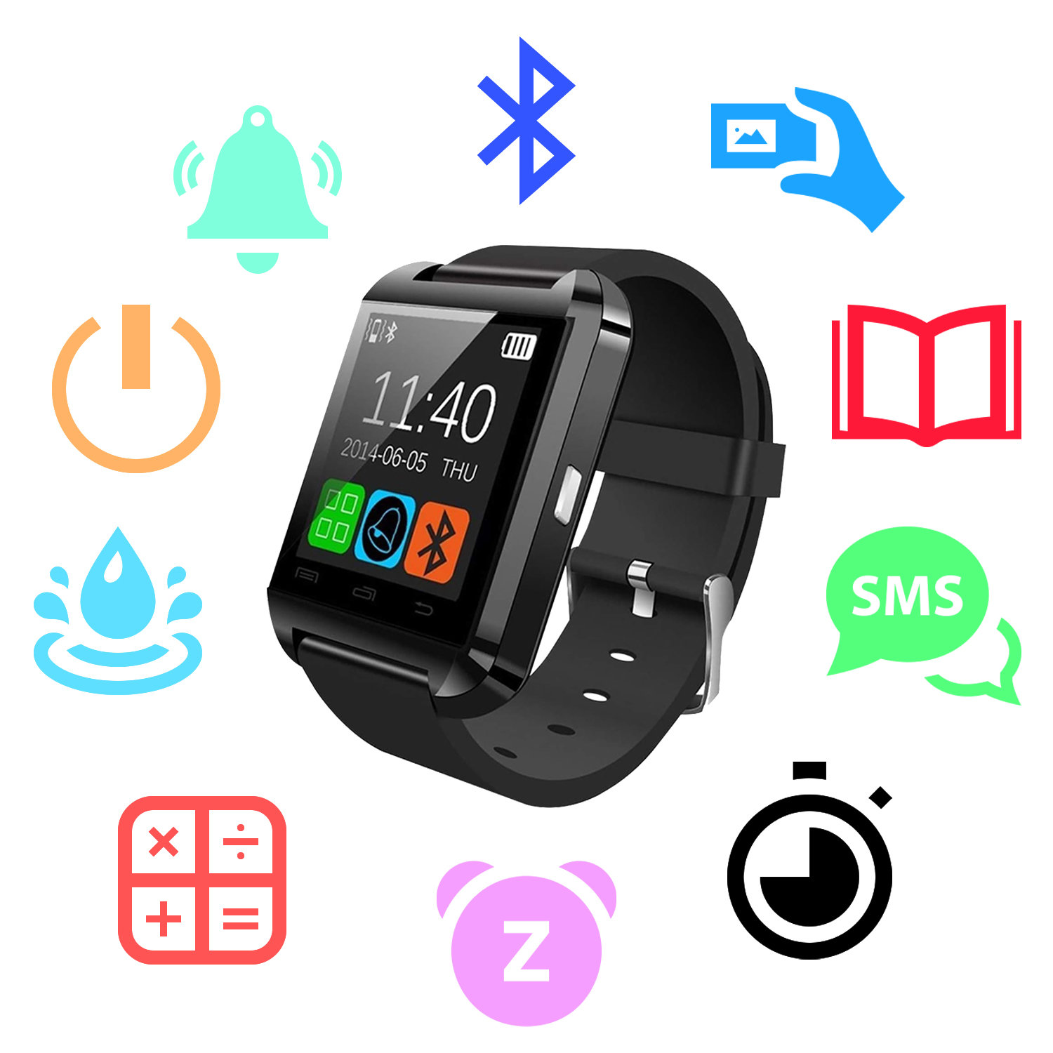 iN-TECH Active Fitness Multi-Function Smartwatch - Black