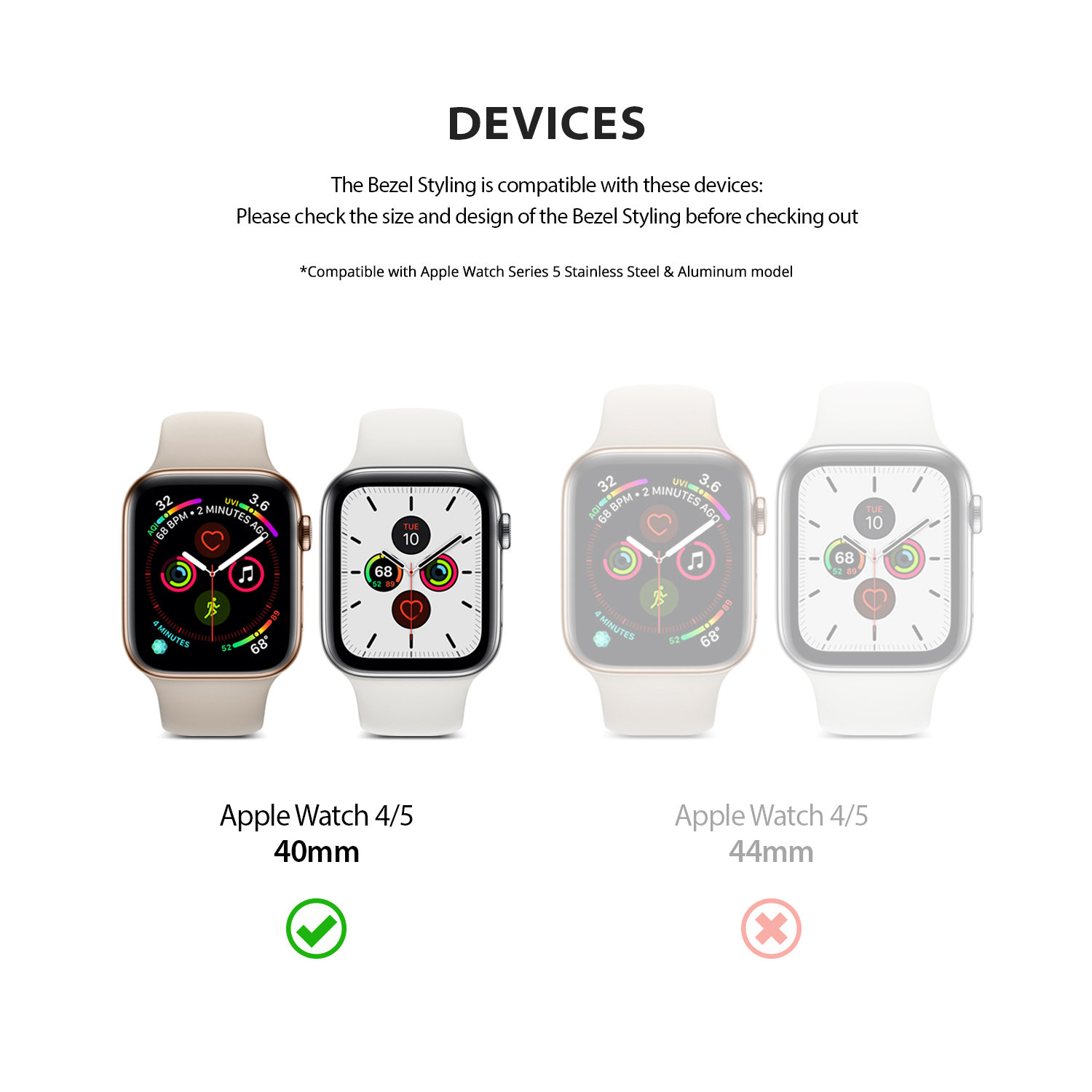 Ringke Apple Watch 4 40mm Bezel Styling - Silver