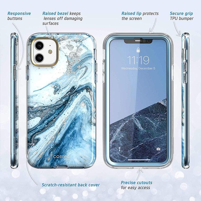 i-Blason Cosmo iPhone 11 Slim Case & Screen Protector - Marble Blue