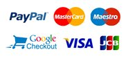 We accept Paypal, Google Checkout, MasterCard, Maestro, Visa and JCB